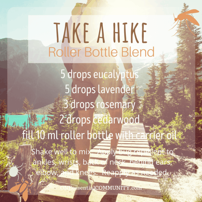 Take a Hike roller bottle blend by oneessentialcommunity.com -- 5 drops eucalyptus, 5 drops lavender, 3 drops rosemary, and 2 drops cedarwood essential oil, then fill 10ml roller bottle with carrier oil. shake well to mix. apply bug repellent to ankles, wrists, back of neck, behind ears, elbows, and knees. reapply as needed.