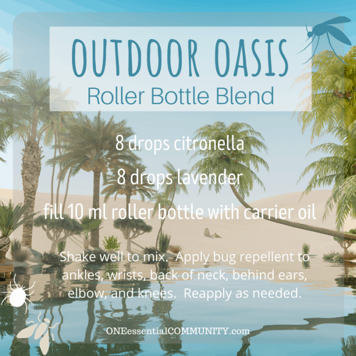 Outdoor Oasis roller bottle blend by oneessentialcommunity.com -- 8 drops citronella and 8 drops lavender essential oil, then fill 10ml roller bottle with carrier oil. shake well to mix. apply bug repellent to ankles, wrists, back of neck, behind ears, elbows, and knees. reapply as needed.