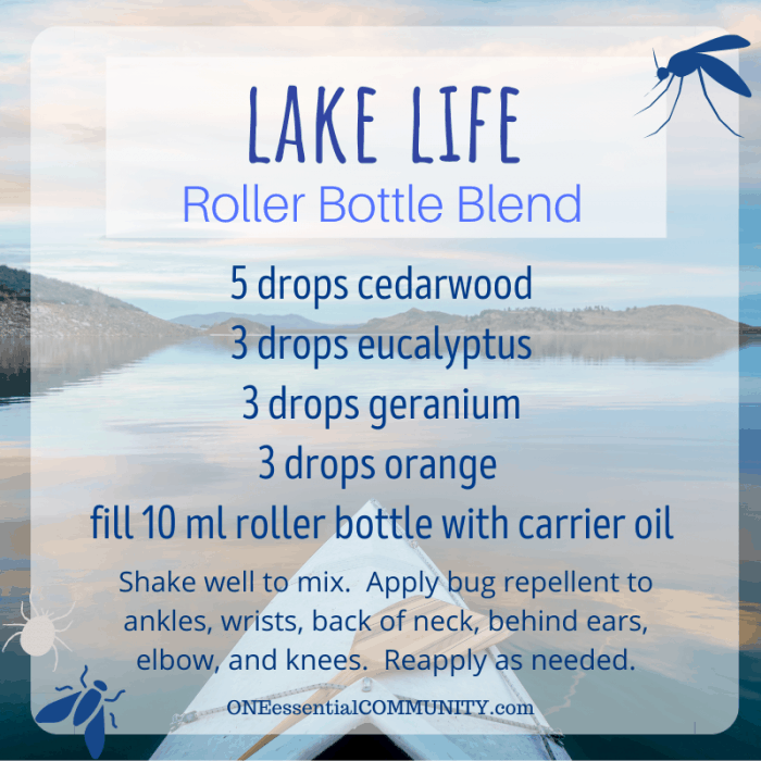 Lake life roller bottle blend by oneessentialcommunity.com -- 5 drops cedarwood, 3 drops eucalyptus, 3 drops geranium, and 3 drops orange essential oil, then fill 10ml roller bottle with carrier oil. shake well to mix. apply bug repellent to ankles, wrists, back of neck, behind ears, elbows, and knees. reapply as needed.