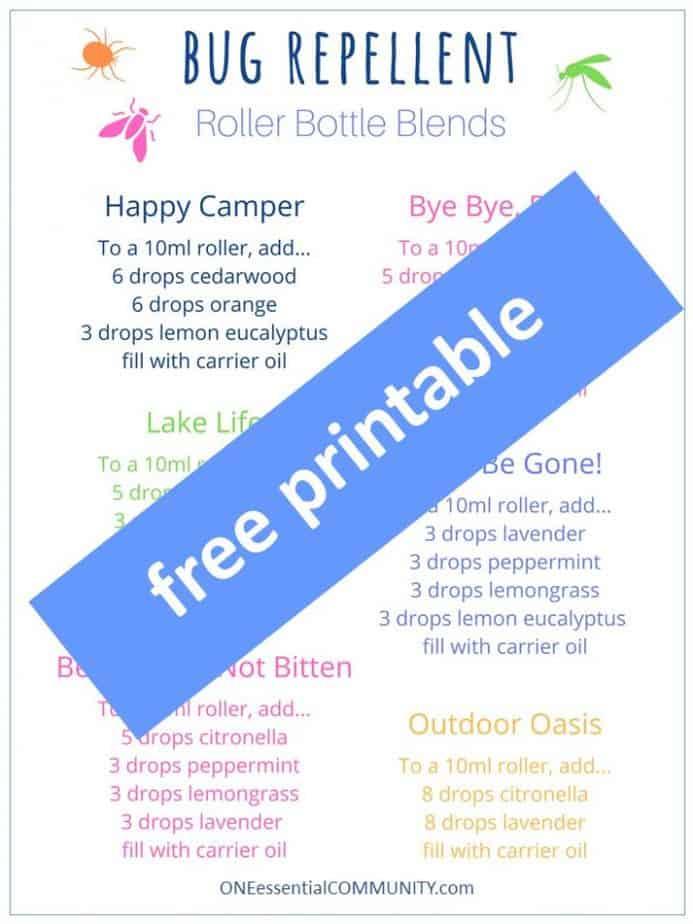 free printable of bug repellent roller bottle blend recipes & labels