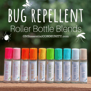 Bug Repellent roller bottle blends by OneEssentialCommunity.com -- 10 essential oil rollerballs on deck railing outdoors