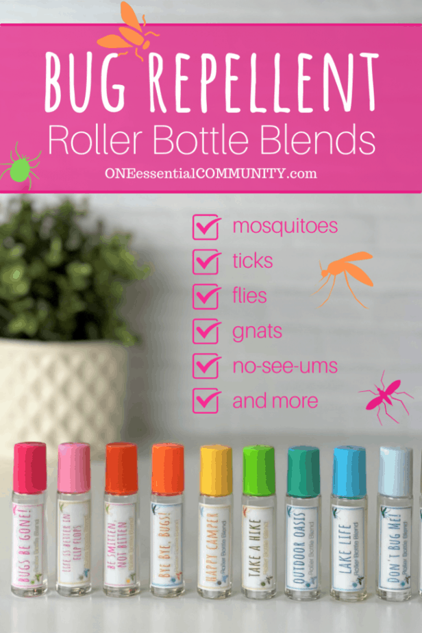 bug repellent roller bottle blends by OneEssentialCommunity.com works for repelling mosquitos, ticks, flies, gnats, no-see-ums, and more. 10 different rollerball recipes and free printable of labels & recipes