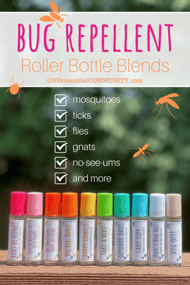 bug repellent roller bottle blends by oneessentialcommunity.com -- works to keep away mosquitos, ticks, flies, gnats, no-see-ums, and more -- 10 rollerball recipes & free printable labels