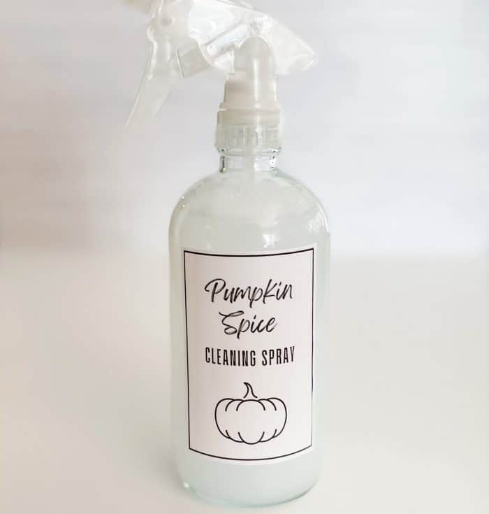 """free printable label """"pumpkin spice cleaning spray"""" attached to spray bottle"""