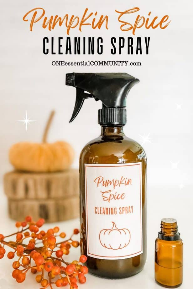 Pumpkin Spice Cleaning Spray by oneessentialcommunity.com -- glass spray bottle next to essential oil bottle, pumpkin, and berries