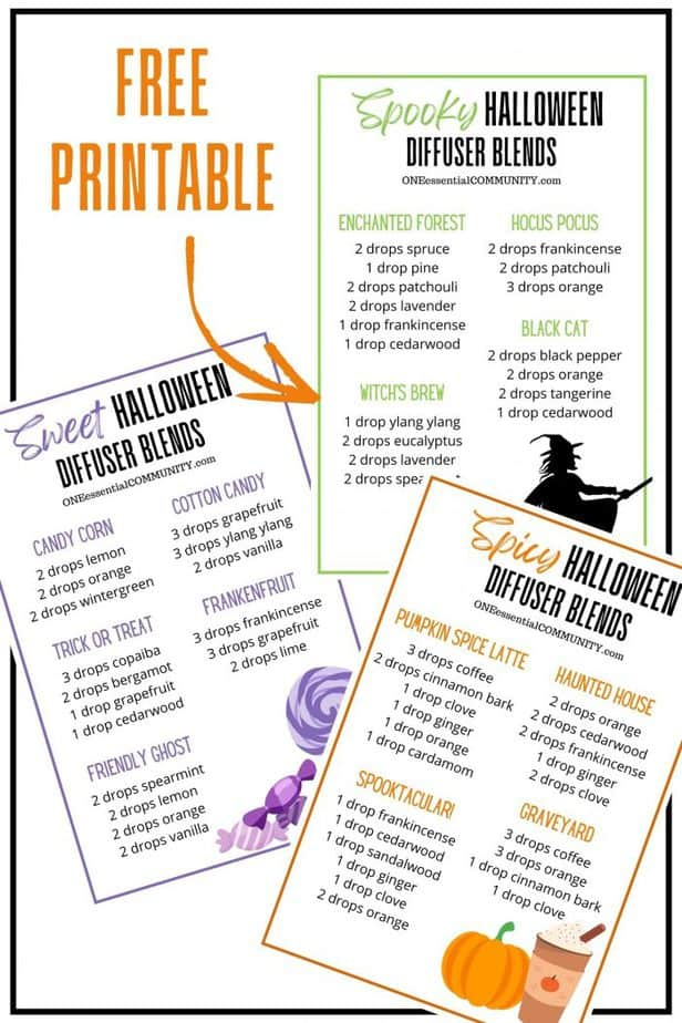 click to get a free printable of all 13 Halloween essential oil diffuser blend recipes