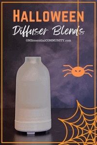 Halloween Diffuser Blends by oneessentialcommunity.com - shows essential oil diffuser with mist along with graphics of spider and spider web