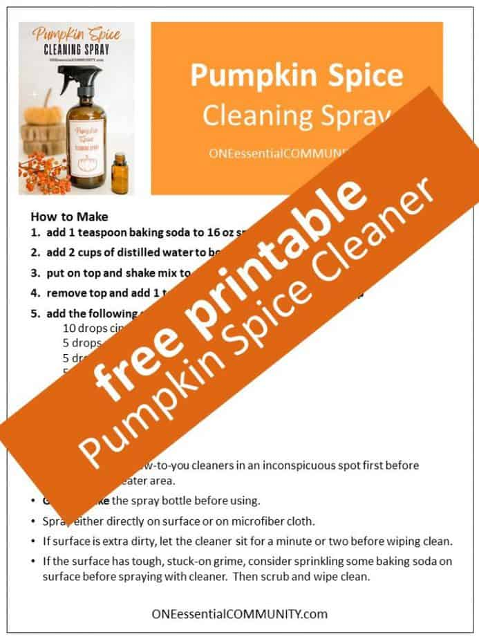 free printable of pumpkin spice cleaning spray recipe and printable labels