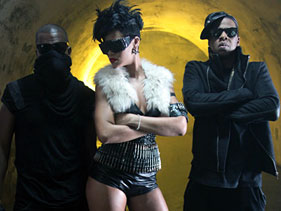 Kanye West, Rihanna and Jay-Z on the set of the video for Run This Town