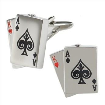 Ventuno 21 Ász-Király kártya mandzsetta , Ventuno 21 ace king playing card cufflink Forrás:http://www.moss.co.uk
