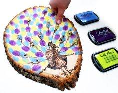 Pávás,ujjlenyomatos vendégkönyv, Peacock fingerprint guestbook Forrás:http://www.etsy.com