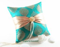 Türkiz gyűrűpárna 2, Turquoise wedding ring bearer pillow 2 Forrás:http://www.etsy.com