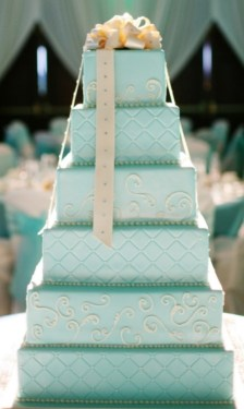 Türkiz torta / Turquoise wedding cake Forrás:http://www.weddingsromantique.com