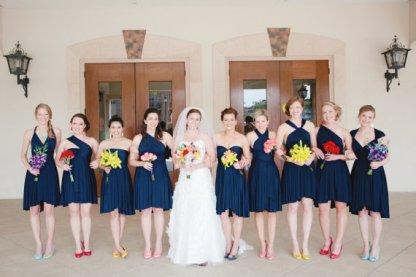 Többféleképpen hordható tengerészkék koszorúslány ruha, Navy blue bridesmaid wrap dress Forrás:http://www.etsy.com/