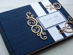 Tengerészkék vendégkönyv, Navy blue wedding guest book Forrás:http://www.etsy.com/