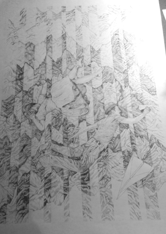 Apx. 58 hours drawing - Falling Through Noise - James Hayes