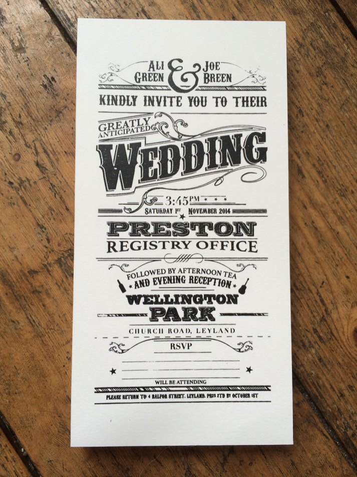 Screen Printed Victorian Style Wedding Invitations - OneFiveEight