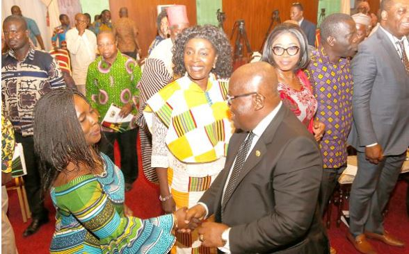 President Akufo-Addo exchanging pleasantries with some members of the National Development Planning