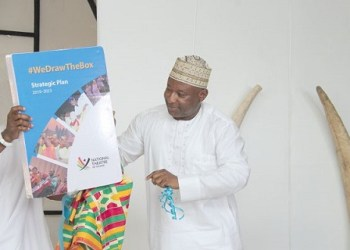 Dr Ziblim Iddi, Deputy Minister of Tourism, Culture and Creative Arts, launching the strategic plan