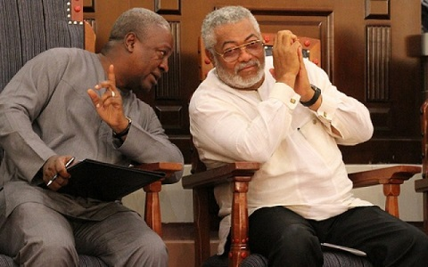 John Mahama interacting with founder of the party Rawlings