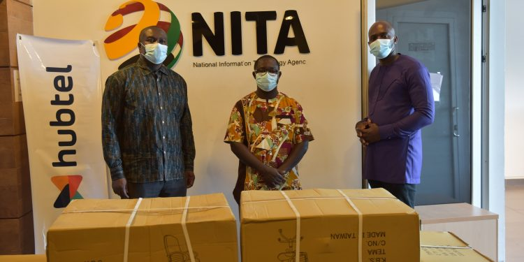 Receiving some of the items on behave of the Ministry. From left to right - Mr Richard Okyere-Fosu, Director General, National Information Technology Agency (NITA); Mr Ernest Apenteng Apenten, General Manager, Hubtel; Kwaku Kyei-Ofori, Dep. Director General, NITA