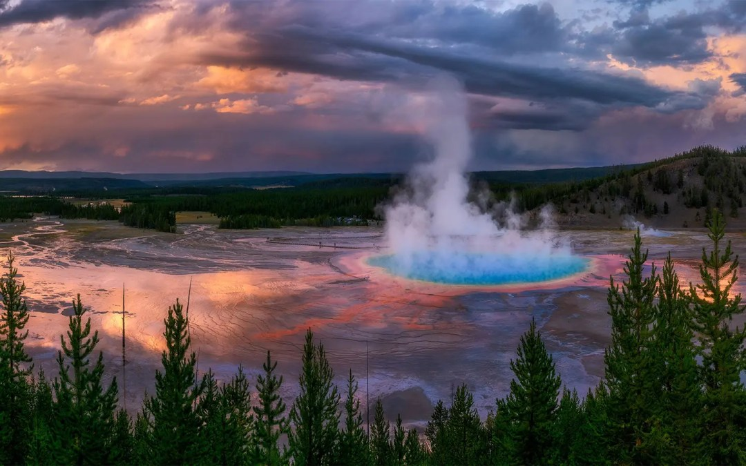 An Apocalyptic Sunset at Grand Prismatic Spring