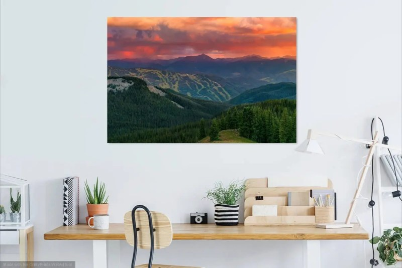 Epic Sunset over Vail Ski Resort Colorado Fine Prints Wall Art
