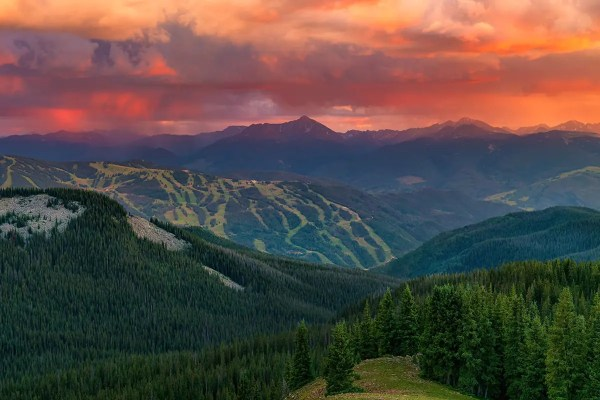 Epic Sunset over Vail Ski Resort Colorado Fine Prints Wall Art