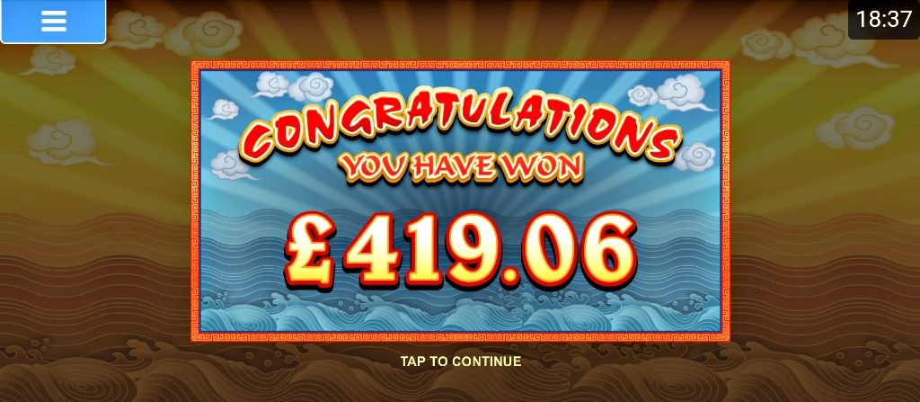 matched betting big win screenshot showing £419.06 win