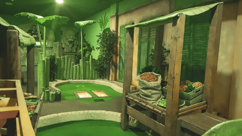 part of the course at paradise island adventure golf cheshire oaks