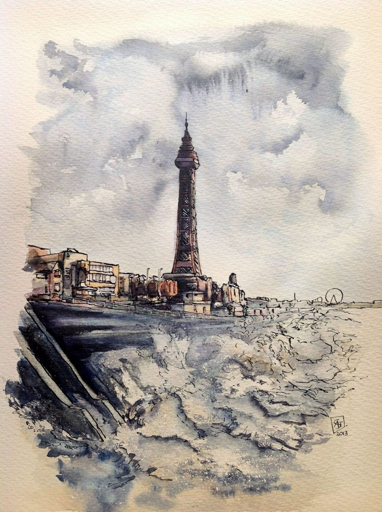 Watercolour and ink Blackpool tower…there's a famous seaside place called Blackpool