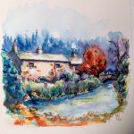 Lancashire cottage by stream watercolour