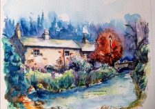 Lancashire cottage by stream watercolour
