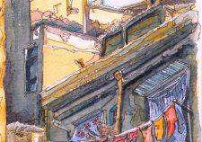 onegraydot italians washing line watercolour