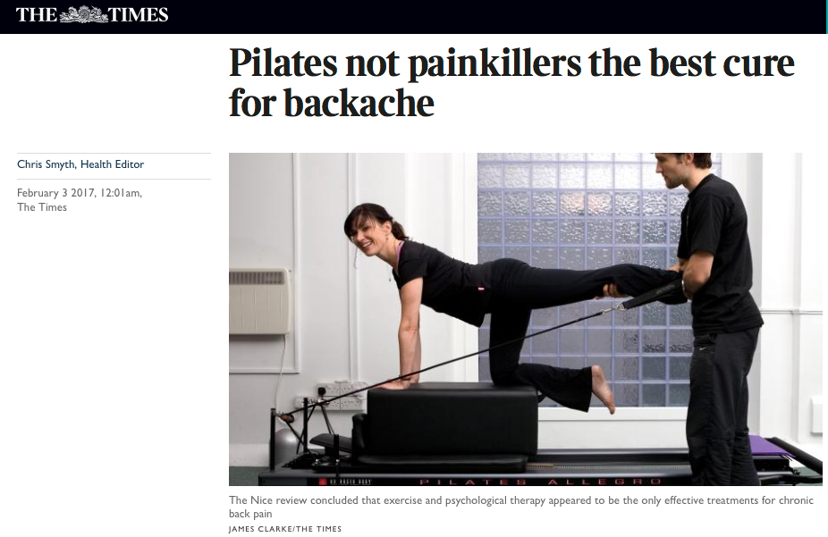 Times article praises Pilates for back pain relief