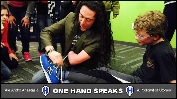 AlejAndro tying shoes with one hand at Sage International School