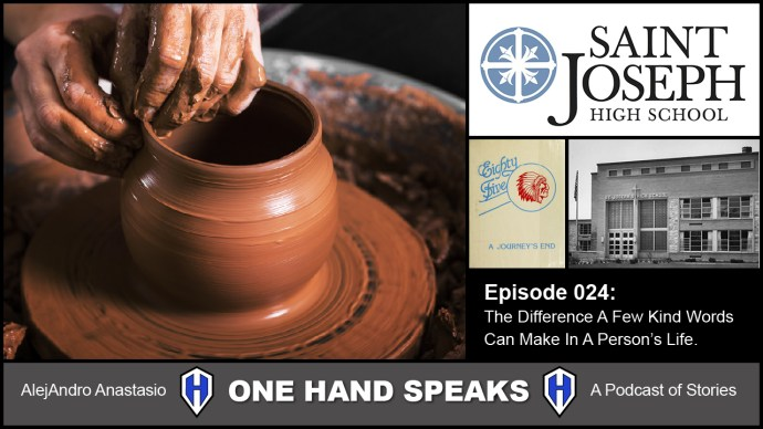 The podcast image is a collection of images. The main image is a scene throwing a clay pot on a potter's wheel. Then St Joseph high school logo, 1985 yearbook cover, and finally a black and white historic image of the front of the high school.