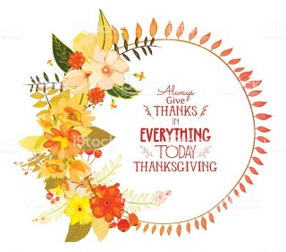Happy Thanksgiving Day greeting card. wreath and hand drawn letters