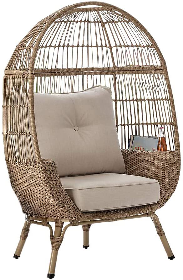 Outdoor Patio All-Weather Wicker Stationary Egg Chair