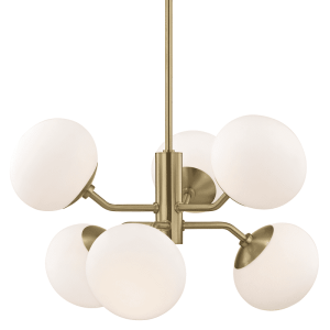 Estee 6 Light Chandelier - Aged Brass