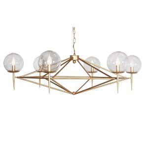 Rowan Gold Leaf 6-Arm Chandelier with Hand Blown Glass Globes
