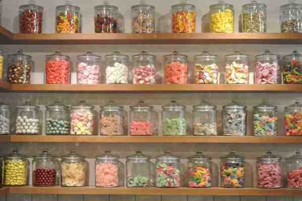 Wall of candy at Andy's Candy Apothecary shop