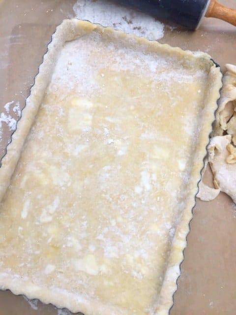 dough in tart pan