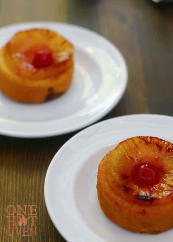 Grilled pineapple upside down cakes