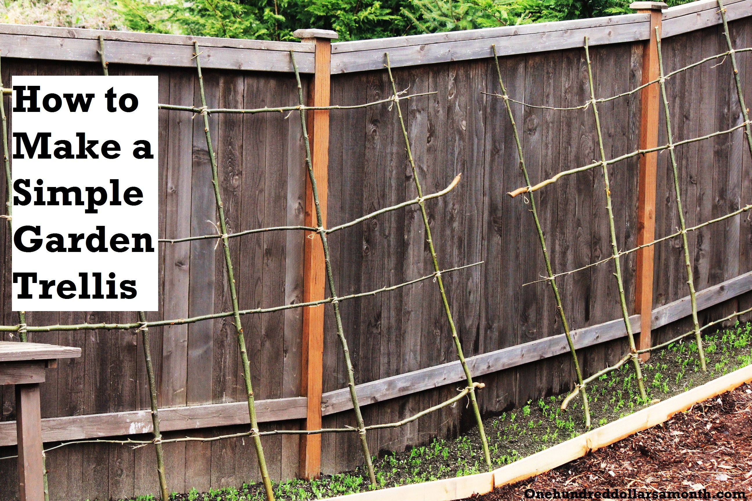 How to Make a Rustic Pea or Bean Trellis Out of Sticks e Hundred