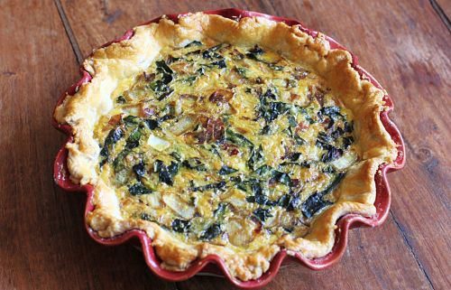 recipe breakfast quiche bacon kale mushroom
