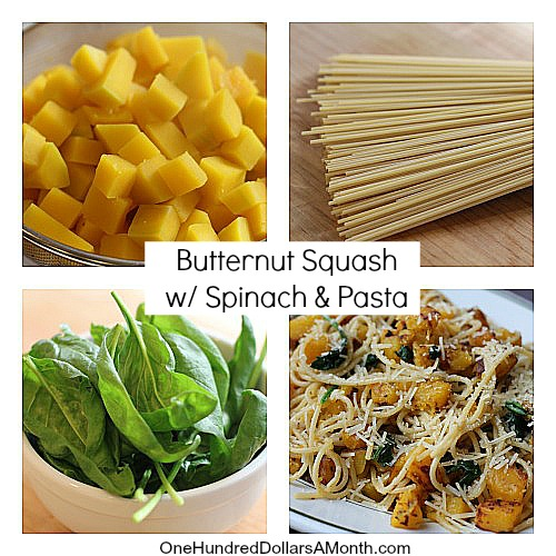 Thanksgiving Recipes - Butternut Squash with Spinach and Pasta