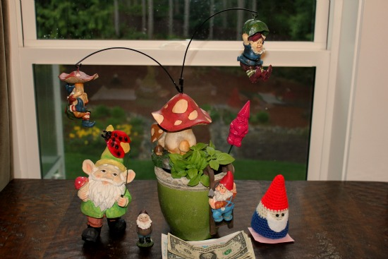 garden gnomes St. Jude mavis one hundred dollars a month