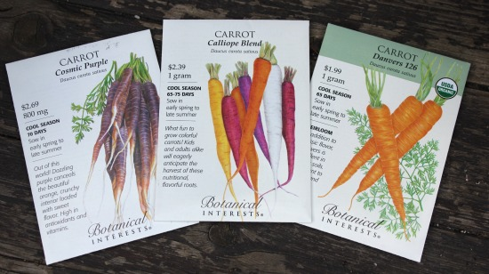 rainbow carrots seed packets