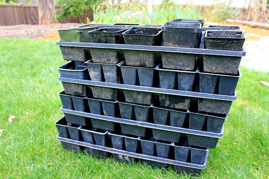 recycled planting containers